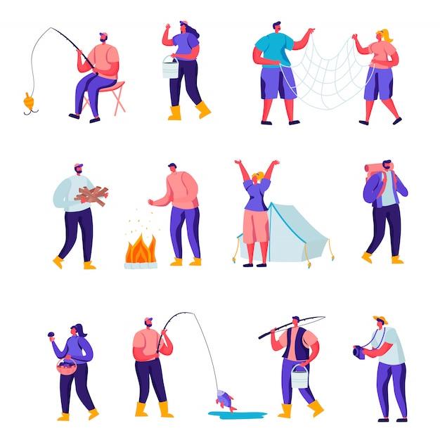Conjunto de personagens de atividades ao ar livre plana Vetor Premium