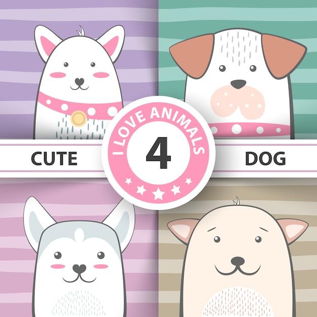 Conjunto de personagens de desenhos animados de cachorro bonito Vetor Premium