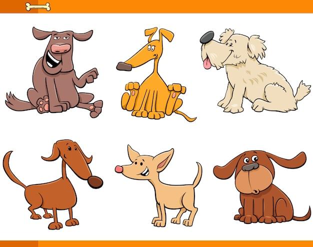 conjunto de personagens de desenhos animados de cães e filhotes
