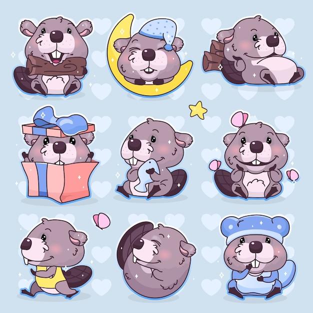 Conjunto de personagens de desenhos animados de castor kawaii bonito. adorável, feliz e engraçado mascote animal adesivos isolados, pacote de patches, ilustração de crianças. emoji anime bebê menino castor, emoticon em fundo azul Vetor Premium