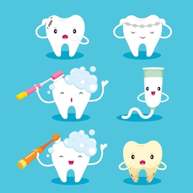 Conjunto de personagens de desenhos animados de dente com escova e pasta de dente Vetor Premium