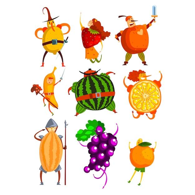 Conjunto de personagens de desenhos animados de frutas engraçadas Vetor Premium