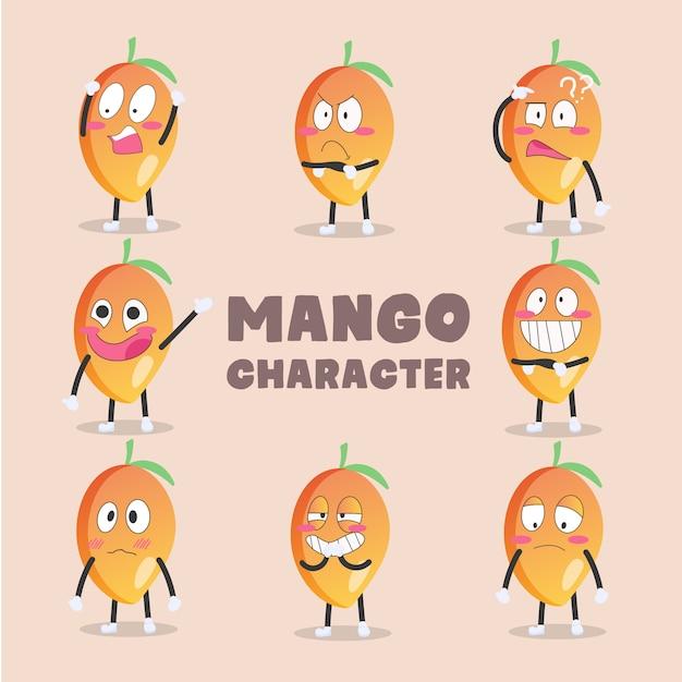 Conjunto de personagens de desenhos animados de manga Vetor Premium