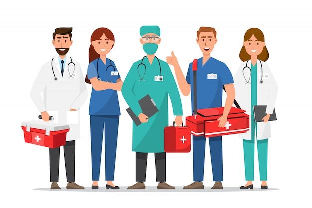 Conjunto de personagens de desenhos animados de médico. conceito de equipe de equipe médica no hospital Vetor Premium