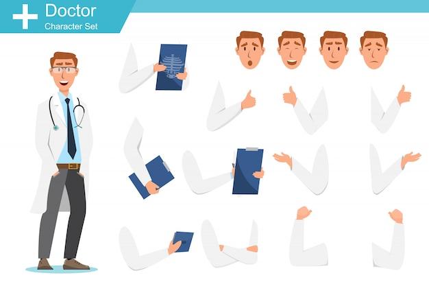 Conjunto de personagens de desenhos animados de médico. conceito de equipe de equipe médica Vetor Premium