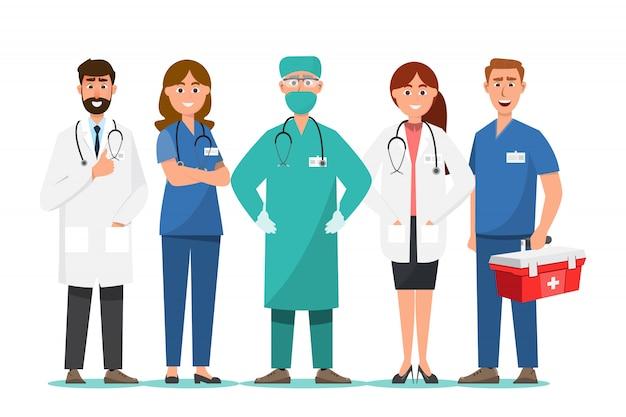 Conjunto de personagens de desenhos animados de médico, conceito de equipe médica no hospital Vetor Premium
