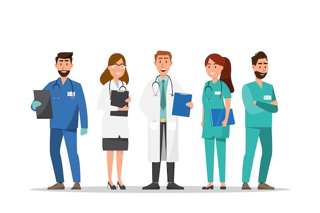 Conjunto de personagens de desenhos animados de médico e enfermeiro Vetor Premium