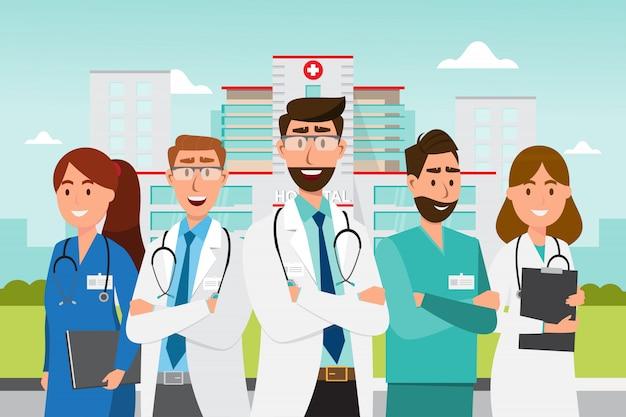 Conjunto de personagens de desenhos animados de médico. equipe médica, equipe, conceito, frente, hospitalar Vetor Premium