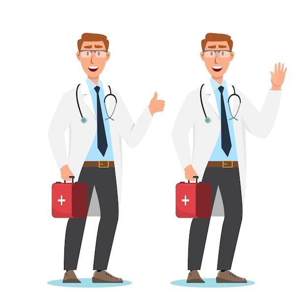 Conjunto de personagens de desenhos animados de médico Vetor Premium
