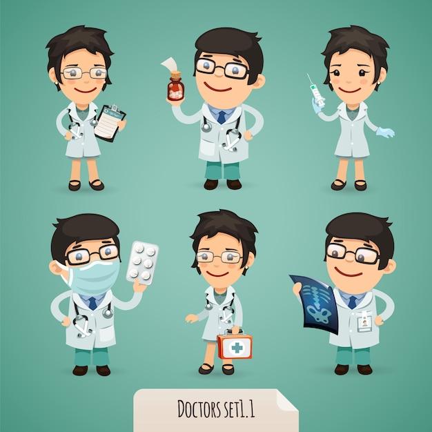 Conjunto de personagens de desenhos animados de médicos Vetor Premium