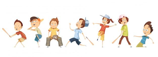 Conjunto de personagens de desenhos animados engraçados crianças em poses diferentes, jogando beisebol plana Vetor grátis