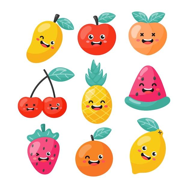 Conjunto De Personagens De Desenhos Animados Frutas