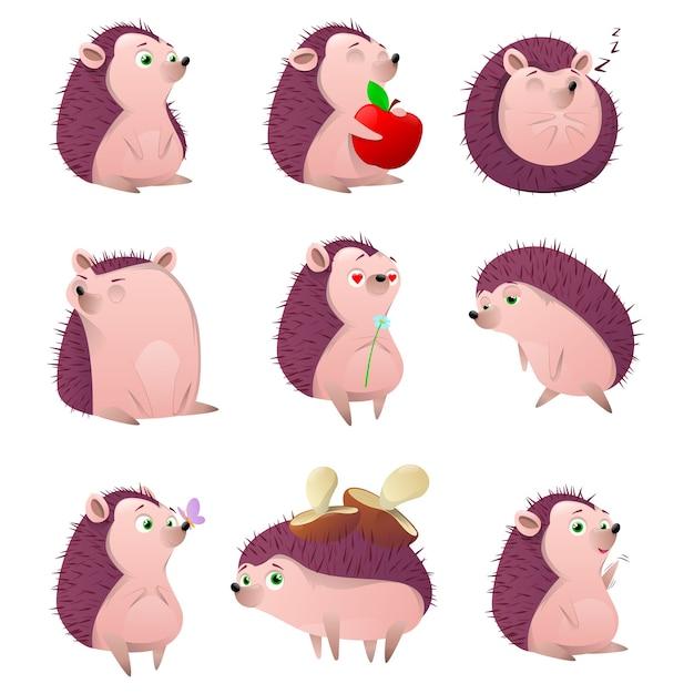 Conjunto de personagens de desenhos animados ouriço Vetor Premium