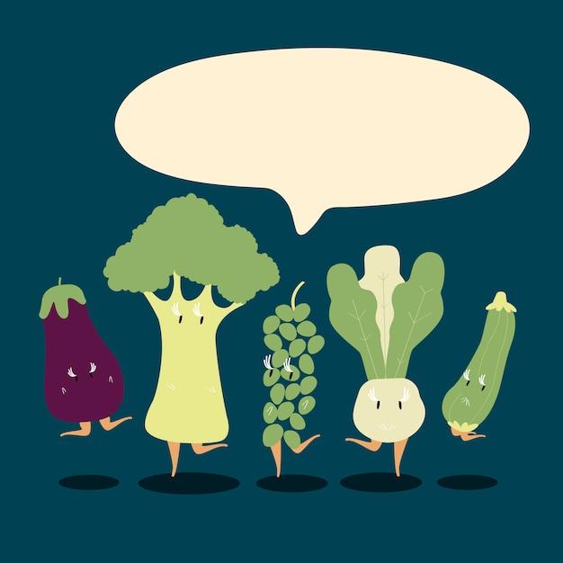 Conjunto de personagens de desenhos animados vegetais frescos vector Vetor grátis