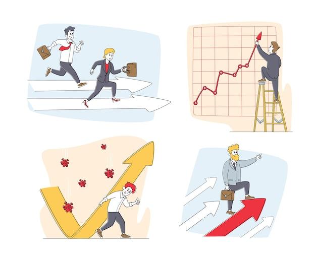 Conjunto de personagens de empresários e setas crescentes Vetor Premium