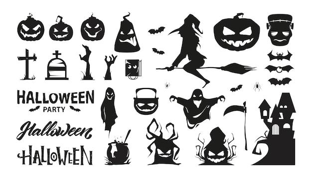 Conjunto de personagens de halloween. coleção de silhueta. prêmio . Vetor Premium