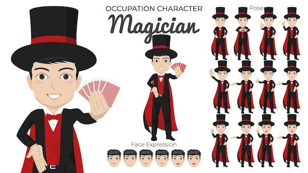 Conjunto de personagens de mágico masculino com várias expressões faciais e de pose Vetor Premium