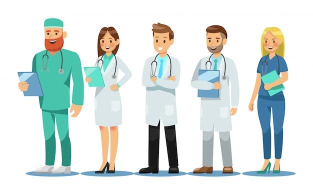 Conjunto de personagens de médicos Vetor Premium