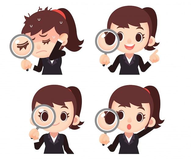 Conjunto de personagens de mulher de negócios feminino Vetor Premium