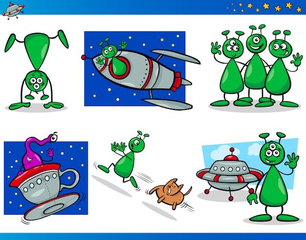 Conjunto de personagens de personagens de aliens ou marcianos Vetor Premium