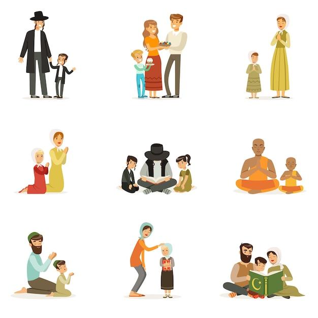 Conjunto de personagens de pessoas de diferentes religiões. atividades religiosas. famílias em trajes nacionais que oram, lêem livros sagrados, celebram feriados. judeus, católicos, muçulmanos, budistas. . Vetor Premium