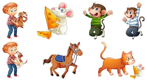 Conjunto de personagens de rimas infantis diferentes, isolado no fundo branco Vetor grátis