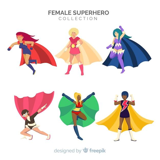 Conjunto de personagens de super-heróis do sexo feminino em estilo cartoon Vetor grátis