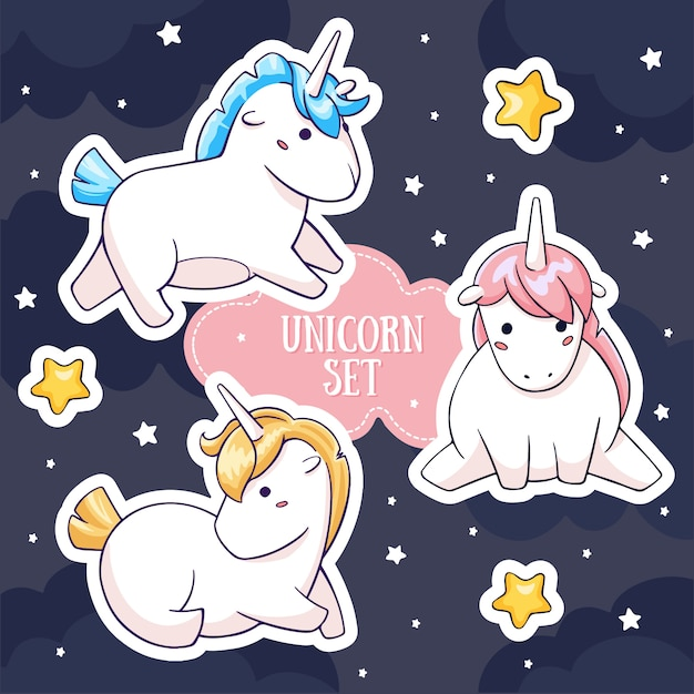 Conjunto de personagens de unicórnio gordo mágico Vetor Premium