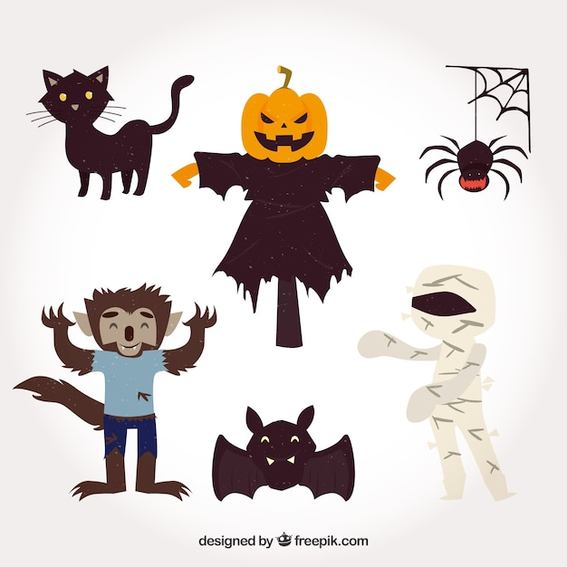 Conjunto de personagens do partido de halloween Vetor grátis