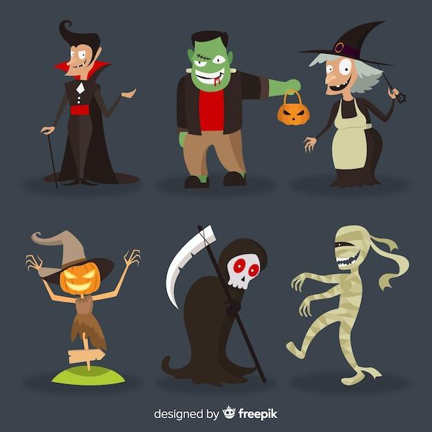 Conjunto de personagens engraçados do dia das bruxas Vetor grátis