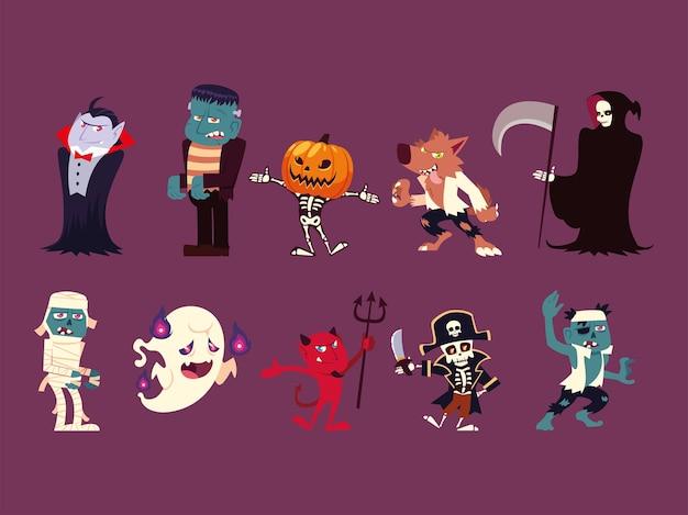 Conjunto de personagens engraçados para hallowwen Vetor Premium