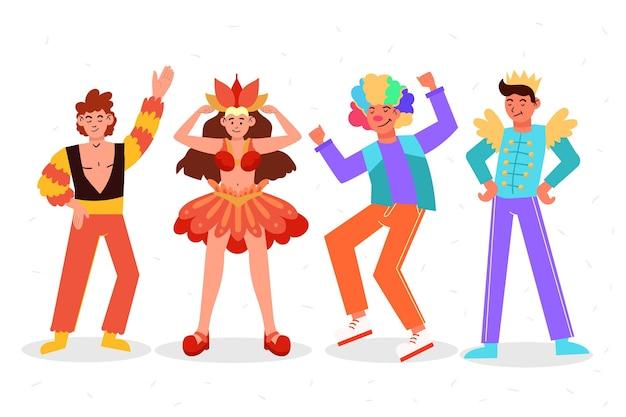 Conjunto de personagens felizes vestindo fantasias de carnaval Vetor grátis