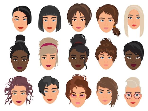 Conjunto de personagens femininos com avatares, vários cortes de cabelo modernos e alternativos da moda Vetor Premium