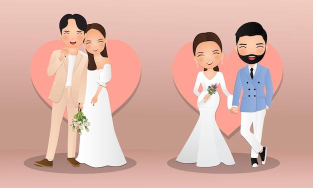 Conjunto de personagens fofos noiva e noivo. cartão de convites de casamento. Vetor Premium