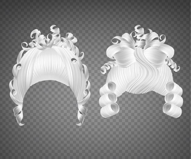 Conjunto de peruca menina encaracolado branco Vetor grátis