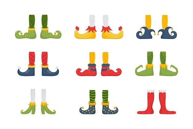 Conjunto de pés e pernas de duende de natal, decoração para festa. coleção de pernas de elfos bonitos, botas, meias. sapatos de ajudantes de papai noel e calças com presentes, presentes. pacote de gnomo de natal. Vetor Premium