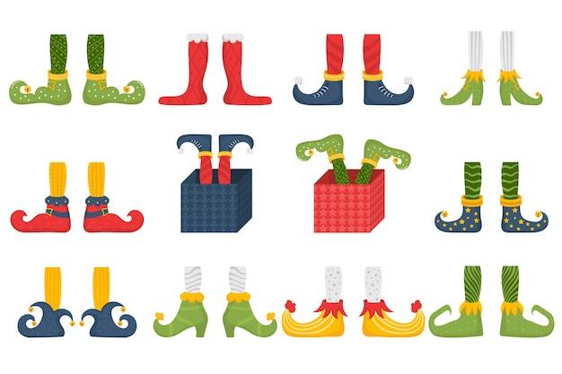 Conjunto de pés e pernas de duende de natal, decoração para festa Vetor Premium
