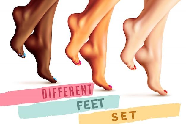Conjunto de pés femininos diferentes Vetor grátis