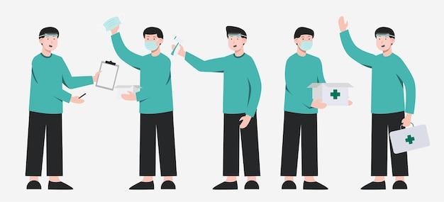 Conjunto de pessoal médico com proteção com diferentes ações na coleção de personagem de desenho animado, ilustração isolada Vetor grátis