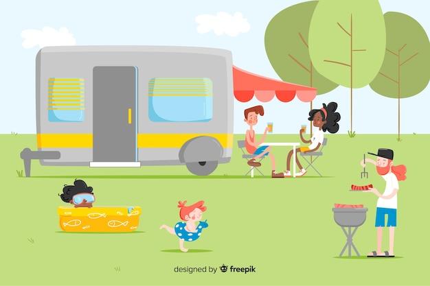 Conjunto de pessoas camping design plano Vetor grátis
