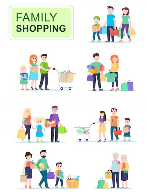 Conjunto de pessoas carregando sacolas com compras. Vetor Premium