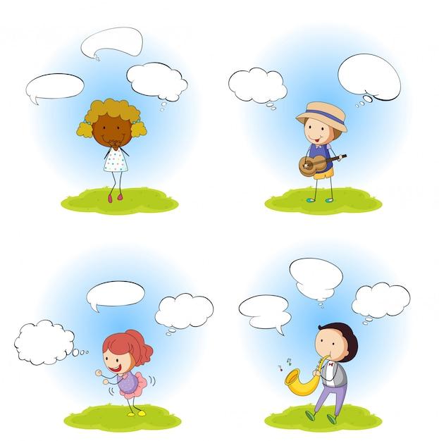 Conjunto de pessoas com balão de fala Vetor grátis