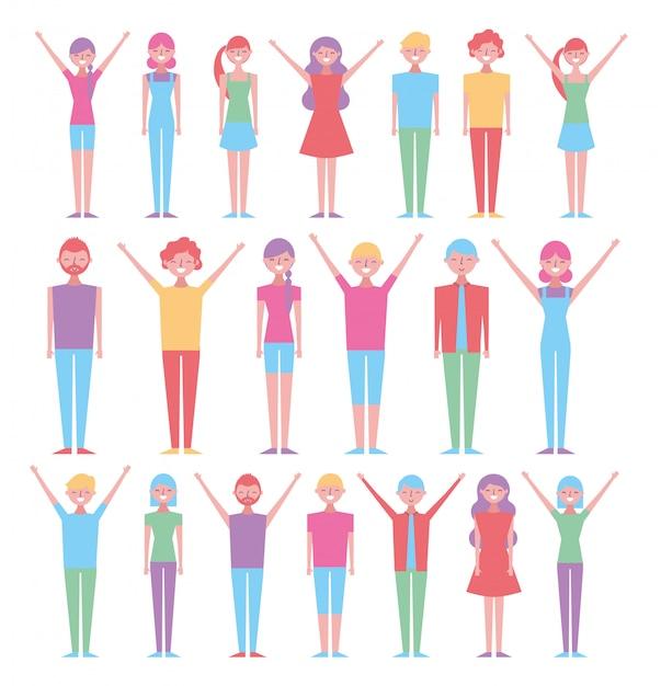 Conjunto de pessoas com poses diferentes Vetor grátis
