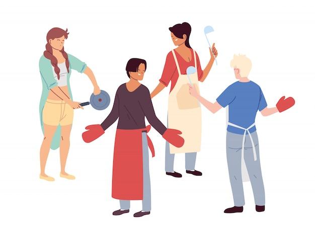 Conjunto de pessoas com utensílios de cozinha em branco Vetor Premium