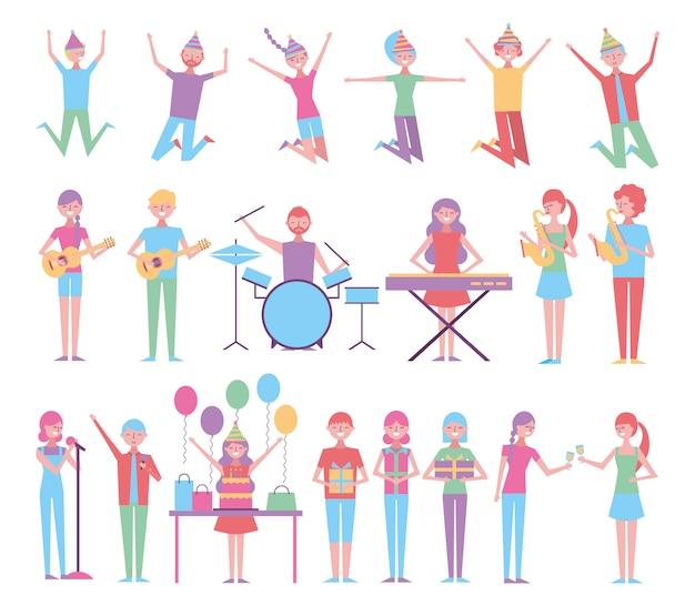 Conjunto de pessoas comemorando aniversário com instrumentos Vetor grátis