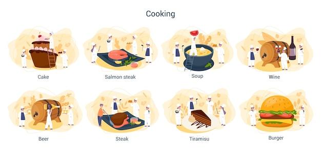 Conjunto de pessoas cozinhando e preparando a comida. chef de restaurante cozinhando coleção de homem e mulher de avental fazendo um prato saboroso. trabalhador profissional na cozinha. Vetor Premium