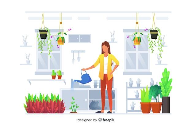 Conjunto de pessoas cuidando de plantas Vetor grátis