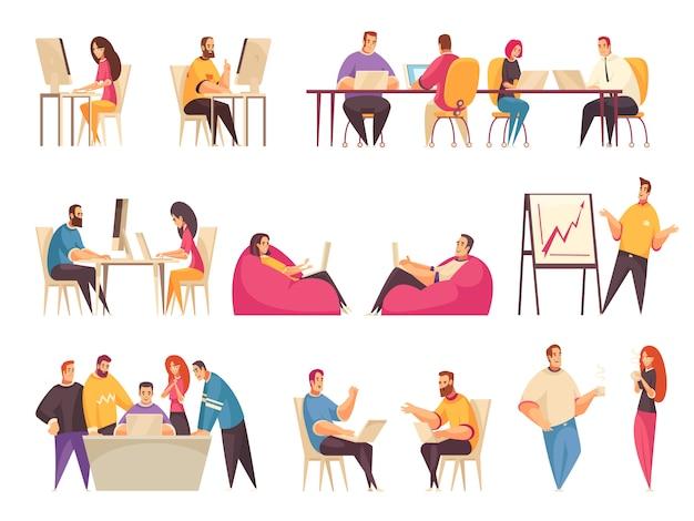 Conjunto de pessoas de coworking com equipes de funcionários criativos trabalhando juntos na mesa grande ou discutindo ilustração isolado de problemas de negócios Vetor grátis