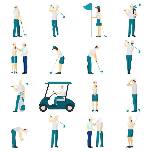 Conjunto de pessoas de golfe plana Vetor grátis