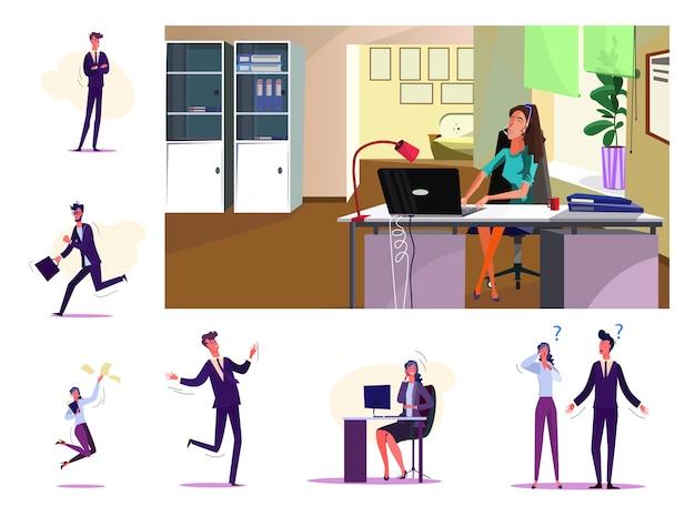 Conjunto de pessoas de negócios alegres Vetor grátis